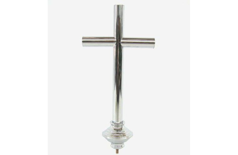 Croce in ottone cromato per aste