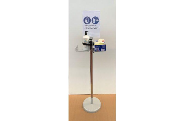 Colonnina porta dispenser con guanti e cartello A4