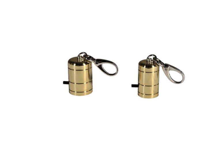 Capicorda in ottone con moschettone per cordoni